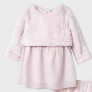 Cat & Jack Baby Girl Faux Fur Tutu Dres and Shoes